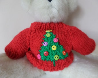 Teddy Bear Sweater - Hand knitted - Red with Christmas Tree Motif -  fits 10 to 12 inch bear