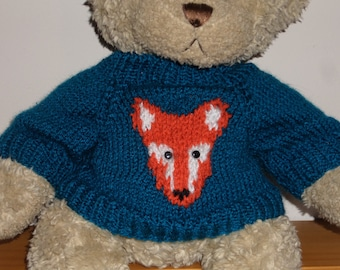 Teddy Bear Sweater Jumper - Hand knitted -  Blue with Fox motif - fits Build a Bear