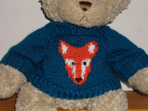 Jumper Knitting Pattern For A Teddy Bear : Teddy Bear Sweater Jumper Hand knitted Blue with Fox