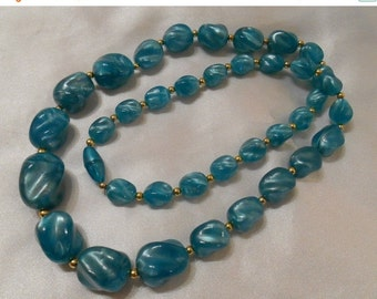 40% OFF SALE Turquoise Blue Plastic Beaded Necklace
