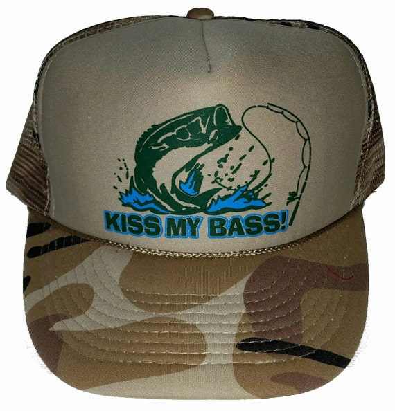 Items similar to kiss my bass tan camo camouflage snapback for Bass fishing hats