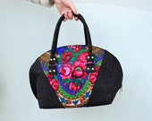 Women Felt bag, ladies handbag, casual bag, black felt handbag, russian shawl, Felt Purse Handbag ,Tote Bag , Everyday Bag