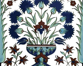 Istanbul Floral Mediterranean Artistic Tile Ceramic Kitchen Bath Back Splash 6""