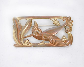 Vintage 1940s Large Copper Bird Brooch