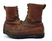 60s Danner Mock Toe Brown Leather Lace Up Americana Work Boots, Mens 8