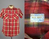 50s Big Mac Cotton Plaid Classic Red / Yellow Shadow Plaid Logger Flannel Shirt
