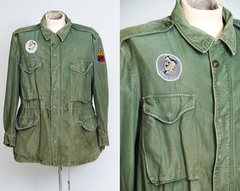 60s Military Parka M-65 US Army Green War is Hell Boho Stoner Hippie Army Twill Field Jacket