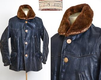1930s Horsehide Barnstormer Mouton Shawl Collar Motorcycle Jacket