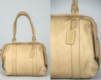 70s Coach Beige Leather Classic Modern Tote 0343 001 Purse Handbag