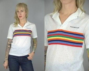 80s Porsche White with Rainbow Stripes Cotton Polo Shirt