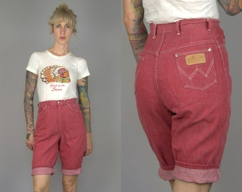 50s Wrangler Blue Bell High Waisted Red Denim Western Jean Shorts W 26