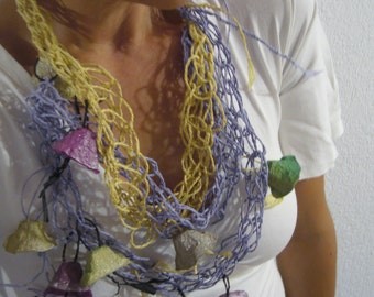 Romantic statement paper /fiber art necklace mustard,lila,green,pink