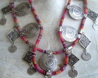Ethnic necklace collar bold/fringed collar tribal/kuchi afghani coin necklace/Layered necklace tribal
