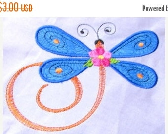50% OFF SALE Dragonfly Applique Machine Embroidery Design 1