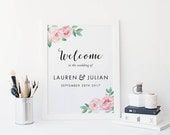 Printable Welcome Sign Poster - Wedding Welcome Sign PDF Download - Wedding Reception Sign Printable Wedding Signs - (Item code: P017)
