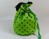SALE Cat Project Bag. Small Drawstring bag ideal for knitting or crochet projects