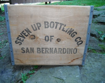 Vintage Wooden Seven Up Bottling Co. Box - 7-UP - San Bernadino CA