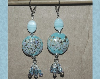 Handmade Turquoise Lentil Beaded Earrings