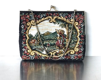 Black Vintage Signed Du Val Tapestry Handbag, Floral Purse. Lots of colorful flowers. Faux Petite Point Purse. Garden Scene Handbag.