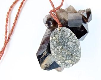 Sale-Druze- Grey rough cut Druzy with Garnet Bead Choker- Pendant/Necklace
