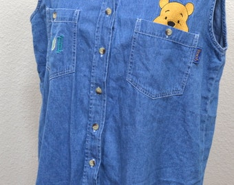 Vintage  Disney denim shirt embroidered Winnie the Pooh women sleeveless blouse Size L
