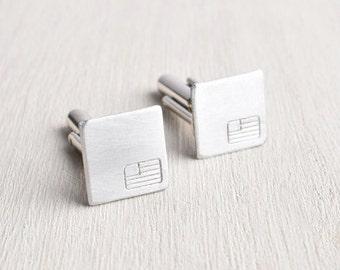 American Flag Cufflinks engraved jewelry men accessories / USA square industrial minimalist cuff links