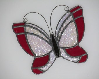 Stained Glass Ashley's Last Butterfly Suncatcher Red - Price Includes Shipping