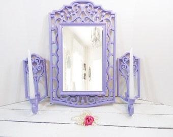 Vintage Mirror and Sconce Set  Nursery Mirror Lilac Home Decor Syroco Frame