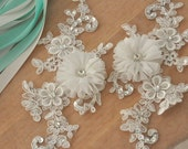 Beaded lace applique for bridals, wedding headpiece, sashes, belts