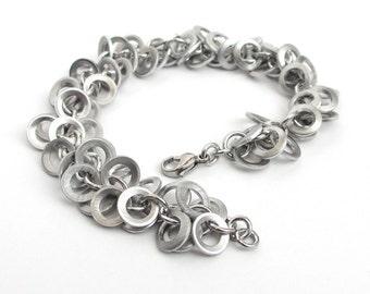 Upcycled chainmail bracelet, silver brushed aluminum bracelet, shaggy bracelet