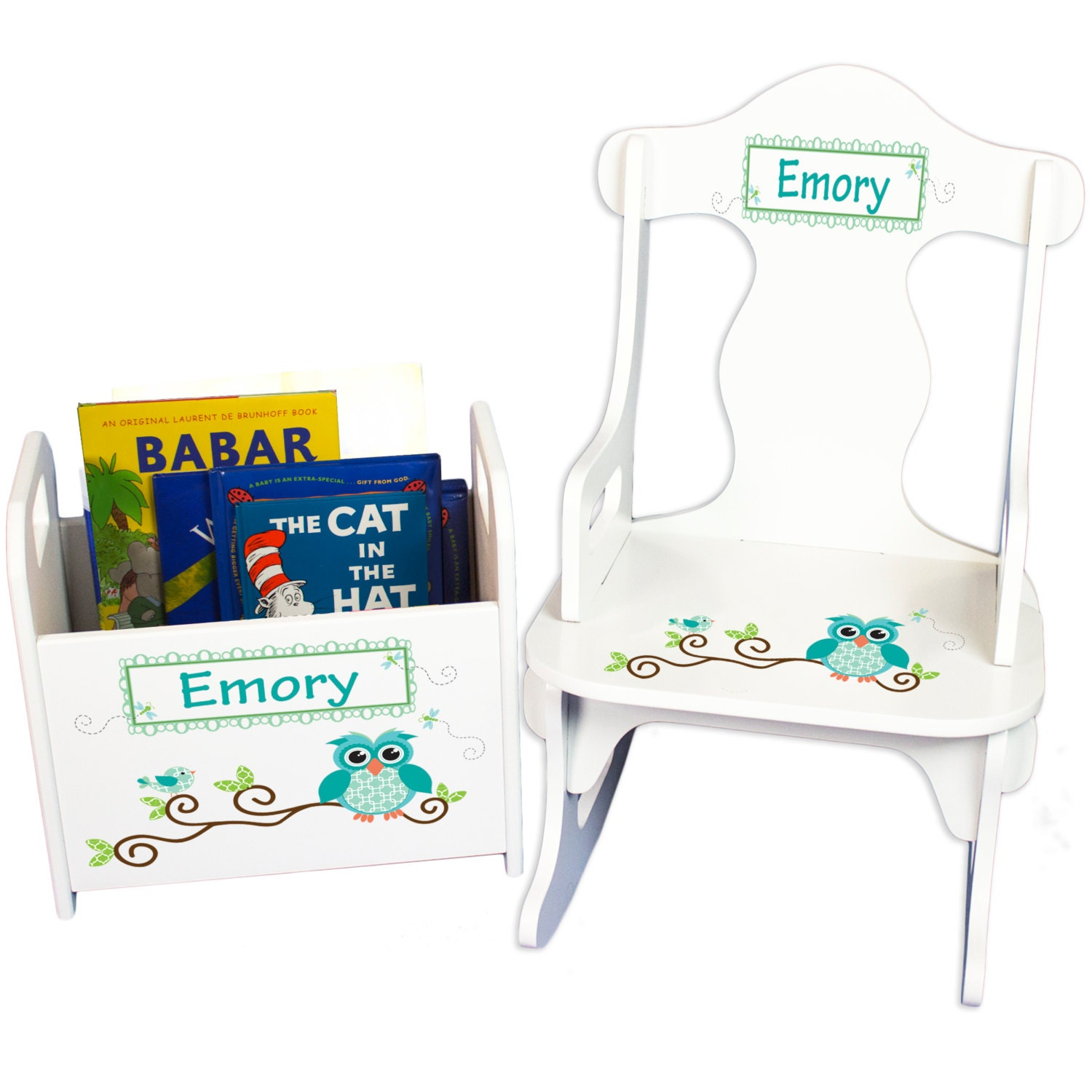 personalized childs rocking chair book holder personalized