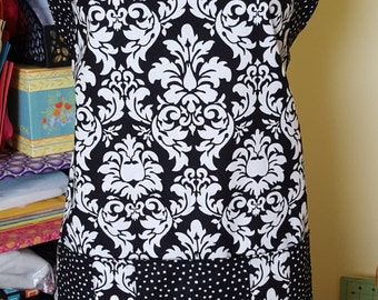 Women's Full-size Adjustable Strap Damask Dots Apron Michael Miller black white