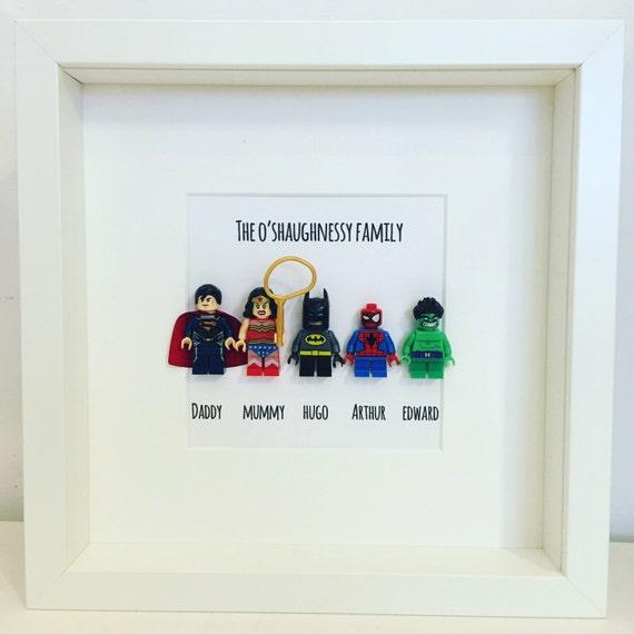 Lego Father Dad Mum Day mini-figure Superhero Family Frame.