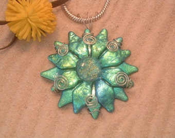 One of a kind Handcrafted Dichroic Glass Pendant
