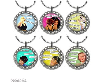 Wine glass charms,Sassy ladies wine glass charms