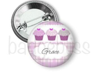Cupcake pinback button badge or fridge magnet