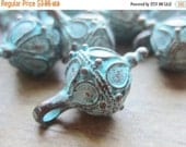 ON SALE Mykonos Greek Casting Bead 13mm Fancy Ball with Bale Green Patina QTY 2