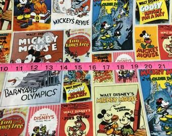 "Disney Mickey and Minnie Movie Poster Cotton Fabric Yardage - 44"" Wide"