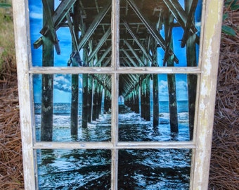 """Surf City Pier """"Cathedral of the Sea"""" Photograph Framed in Vintage Six Pane Window"""