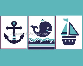 NAUTICAL BABY BOY, Hamptons Whale nursery, Navy turquoise Nursery, navy aqua bedding, whale bathroom, Baby boy decor, set of 3, 8x10 print