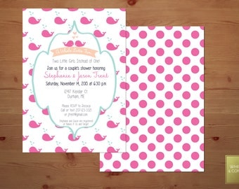 Pink Whale Baby Shower Invitation (Birthday, Bridal Shower, Baby Shower) Print at Home or Order Through My Lab