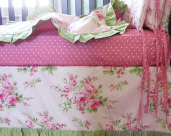 Cottage Chic Pink and Green Baby Bedding  Crib Blanket  - Girls Roses Crib Blanket