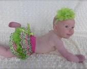 Parley Ray Watermelon Rainbow Chevron Birthday Ruffled Baby Bloomers/ Diaper Cover / Photo Props