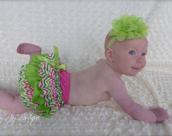 Parley Ray Watermelon Rainbow Chevron Birthday Ruffled Baby Bloomers/ Diaper Cover / Photo Props