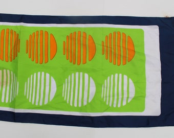 Vintage Scarf -abstract pattern 1960's-polka dot-lime green-navy-orange-vibrant colourful-multicolor-fabric-Retro-Necktie-Hair Bow-Accessory