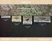 60 PRECUT FOLDED Custom Satin Clothing Labels from TagsToGo USA