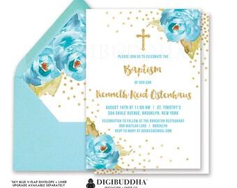 BOY BAPTISM INVITATION Boy Christening Invitation Party First Birthday Naming Invite Blue Peony White Gold Glitter Printable or DiY- Krissy