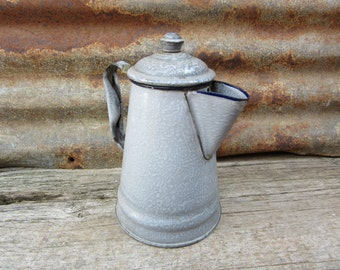 Small AntiqueTea Kettle Enamelware Coffee Pot or Tea Pot Early 1900s Era Speckled Gray Grey Camping Retro Kitchen Primitive Rustic Display