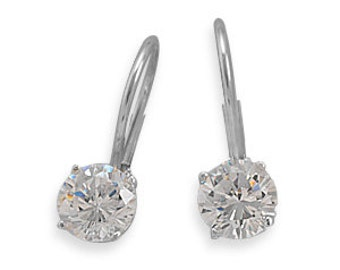 Sterling Silver Rhodium Plated Lever Back CZ Earrings