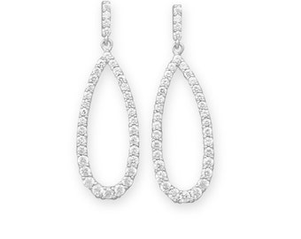 Sterling Silver Rhodium Plated CZ Post Drop Bridal Earrings